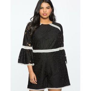 Eloquii Romper Jumpsuit Black White Plus Size 22